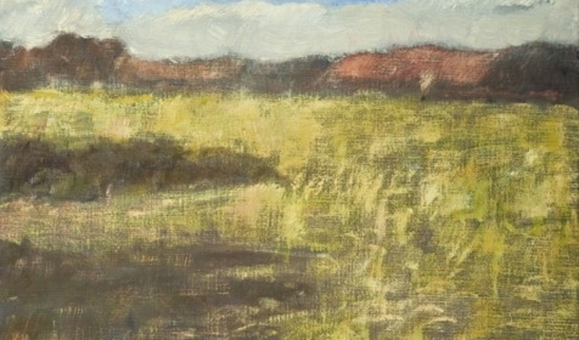 'Vroegste voorjaarslicht', uitsnede, olieverf op linnen, door Marjolein Menke.