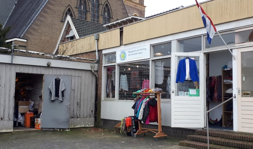 De huidige locatie van kledingbank De Cirkel. Deze ruimte werd belangeloos ter beschikking gesteld door bouwbedrijf Van Laar.