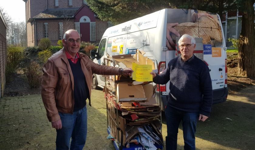 Frans van Rosendaal van de Voedselbank neemt op gepaste afstand de donatie in ontvangst van Henk van Eijken van de AWBP&A.