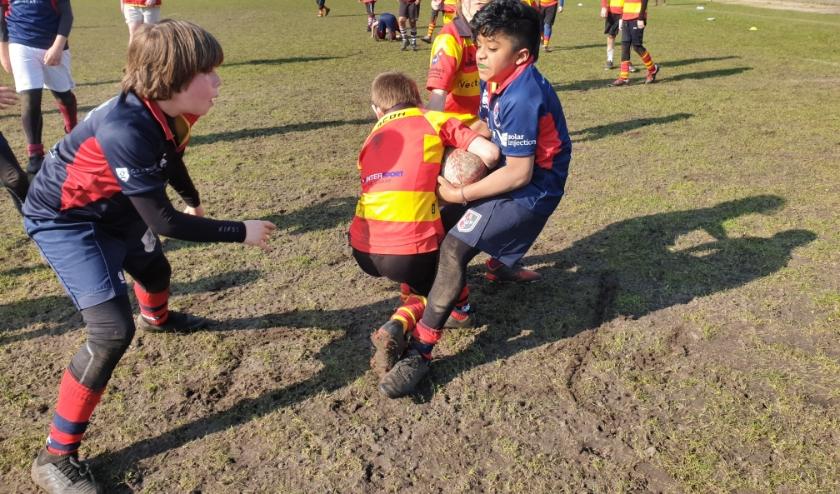 Stichtsche Wolven verdedigen sterk tegen Rugby Club West Friesland en winnen hun tweede wedstrijd van de dag