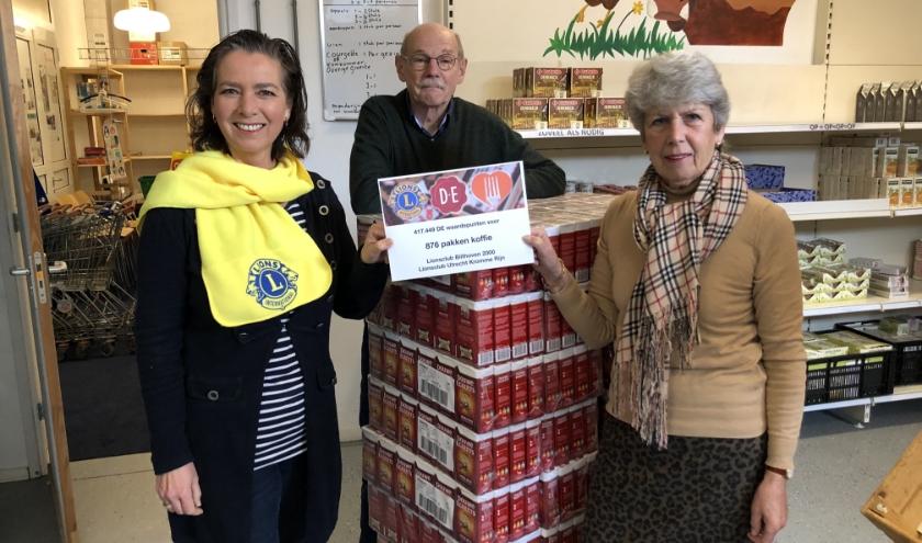 Een pallet met 876 pakken DE koffie voor de Voedselbank