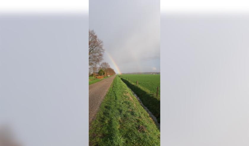 """Ewine Lohuis: """"Deze foto van prachtige regenbogen is gemaakt op 3 maart aan de Erve Meijerinksweg in Wierden."""""""