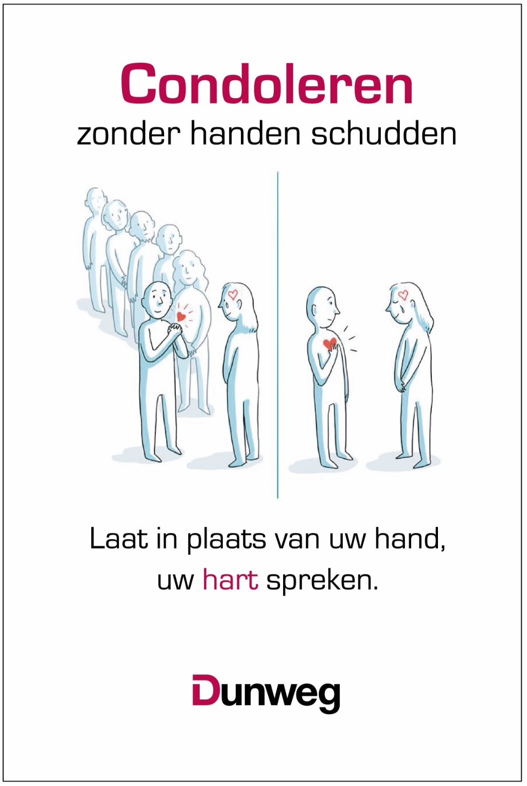 Condoleren zonder handen schudden. Foto: Könst & Dunweg Uitvaartzorg © DPG Media