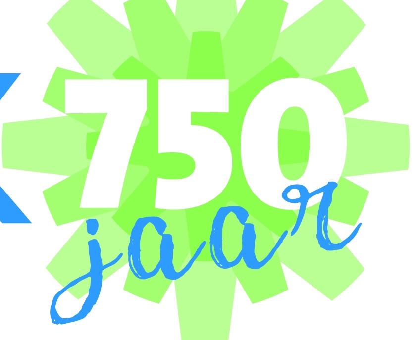 Logo van jubileumjaar Nieuwkoop 750.