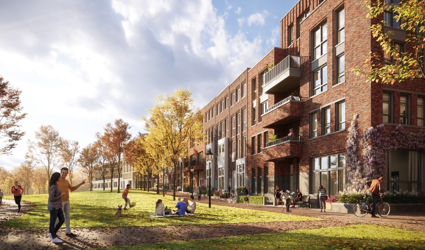 De bouw van de 47 woningen van het Parkblok gaat definitief van start. Beeld: PR