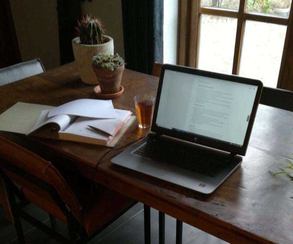 En ook Monique heeft haar kantoor ingeruild voor de keukentafel, deze keer in Ophemert.  © DPG Media