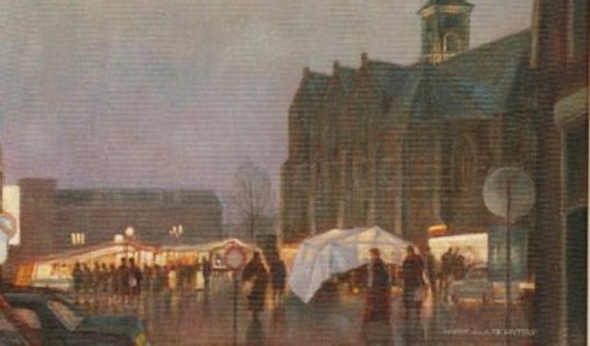 Avondmarkt in de regen, een van de schilderijen van Harry te Lintelo die via de Interactieve Kunst Galerie weer te zien zijn in het Rijssens Museum. (Foto: Arjan te Lintelo)