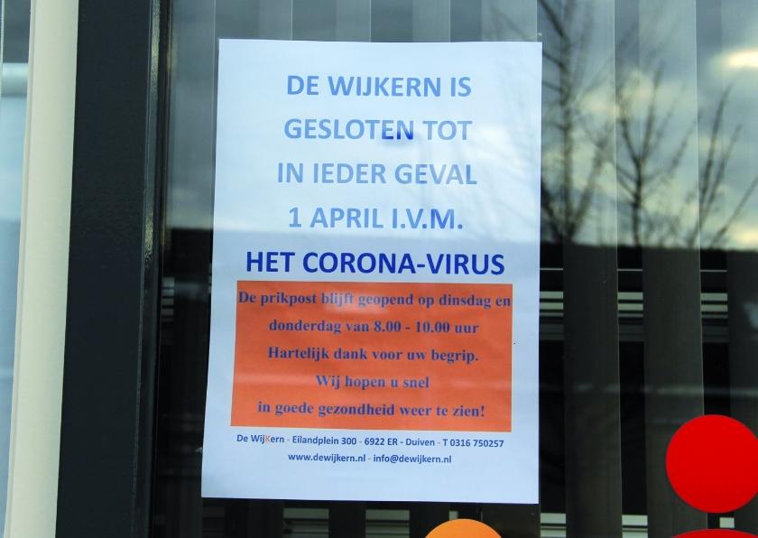 Ontmoetingscentrum Praathuis 304 van wijkvereniging De Wijkern is tot nader order gesloten.