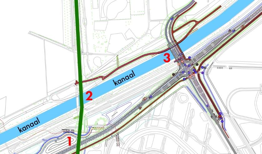 De doodlopende nieuwe brug (3) vlak naast de verouderde brug (2).