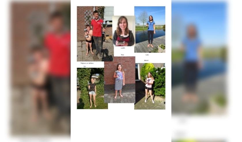 Samengestelde foto van de prijswinnaars.