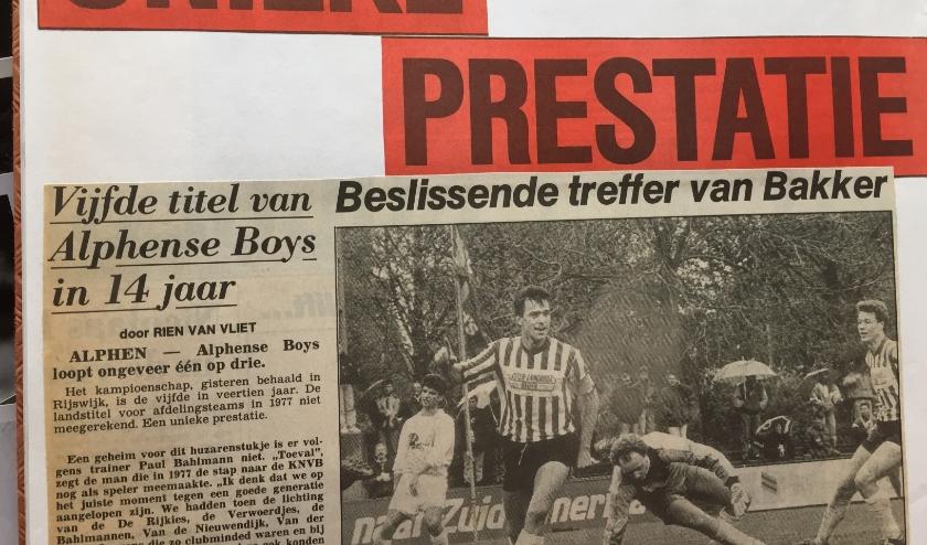 Een van de hoogtepunten uit de geschiedenis van Alphense Boys. Foto: Paul Bahlmann.