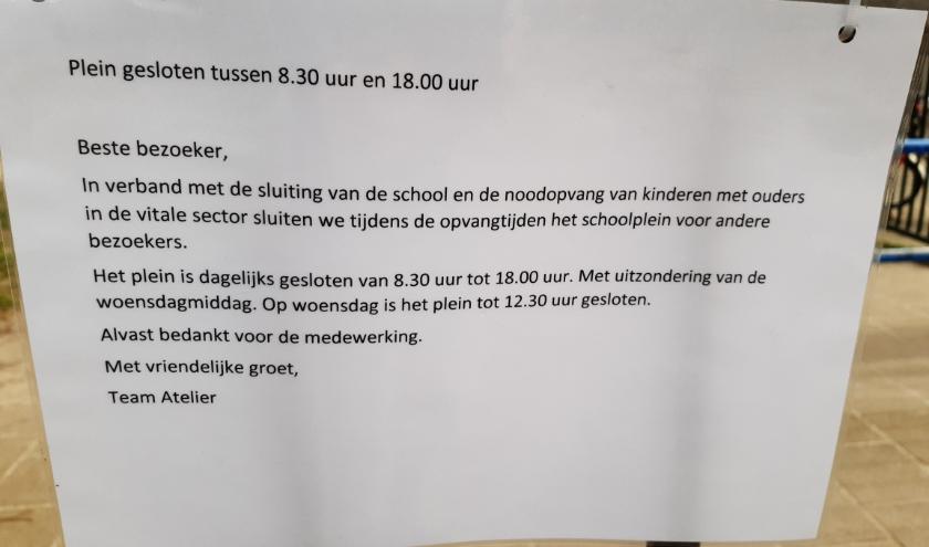 Maatregelen tegen het coronavirus op de schoolpleinen.