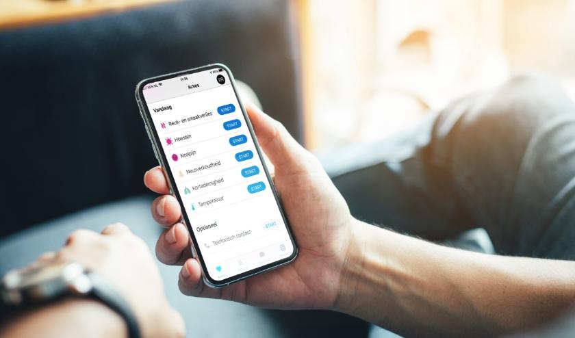 Hulp op afstand via de begeleidingsapp 'De Corona Check'. Let op: De app is nadrukkelijk geen vervanging van reguliere zorg of spoedzorg.