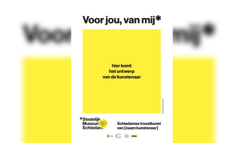 Schets van het affiche Troostkunst uit Schiedam.