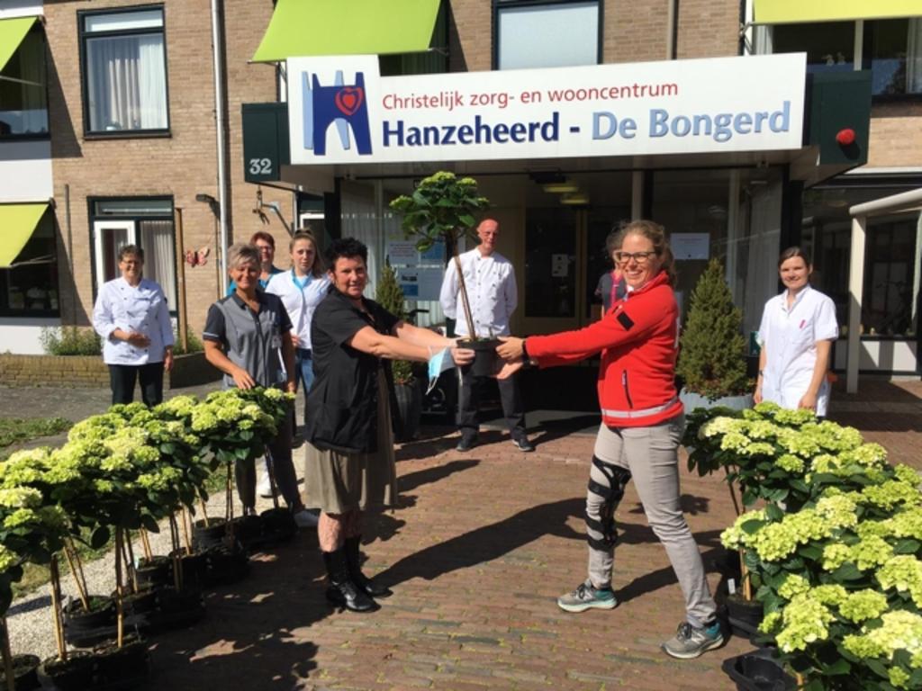 De overhandiging van hortensia's bij De Bongerd in Hattem. Foto:  © DPG Media
