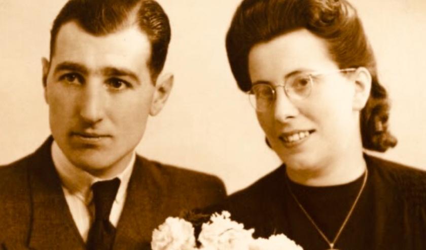 Trouwfoto ouders Fred Marree tijdens de oorlog.