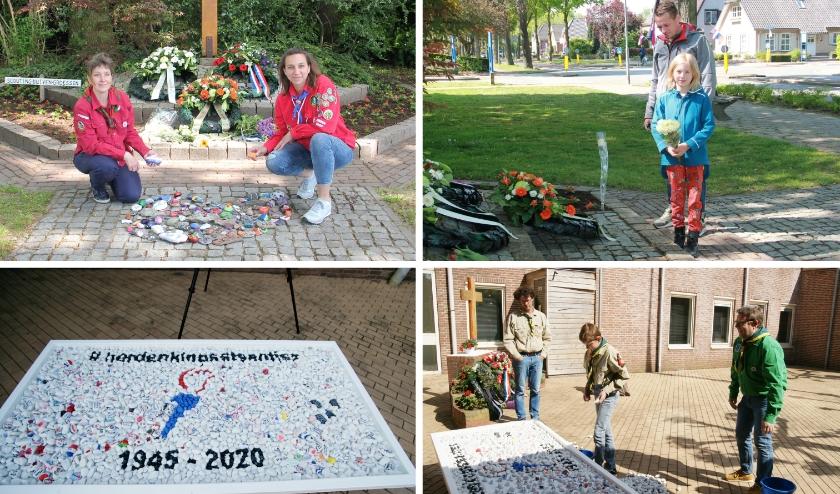 De bovenste twee foto's zijn gemaakt bij het herdenkingsmonument in Duiven, de onderste twee bij het monument in Westervoort.