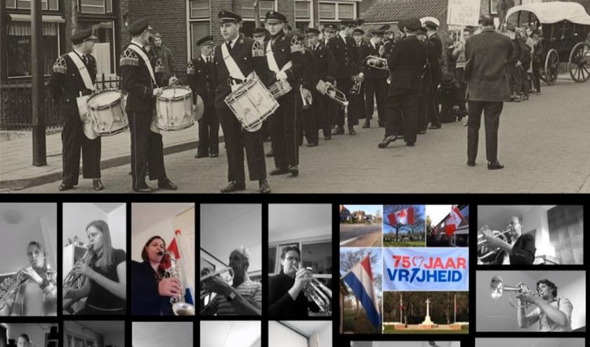Boven: orkest in 1964 op de Larenschseweg. Onder: het orkest speelt toch samen in een filmpje. (Eigen foto's)