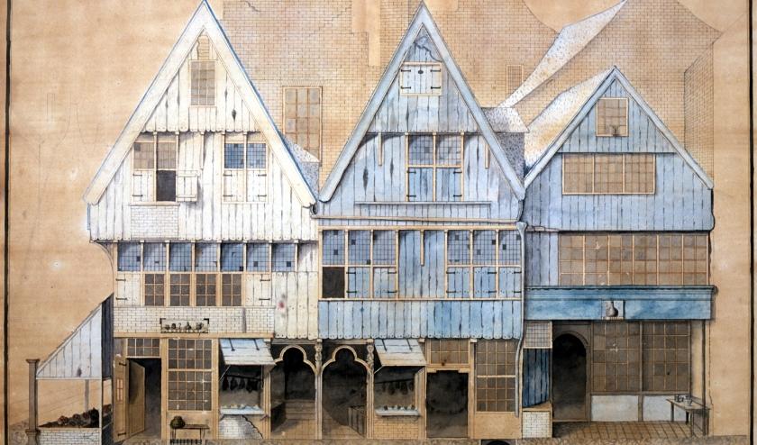 Drie houten gevels van huizen die gestaan hebben op de hoek van de Pensmarkt/Markt. Tekening uit 1815 door J.B.J. van Someren. Foto: Collectie Erfgoed 's-Hertogenbosch