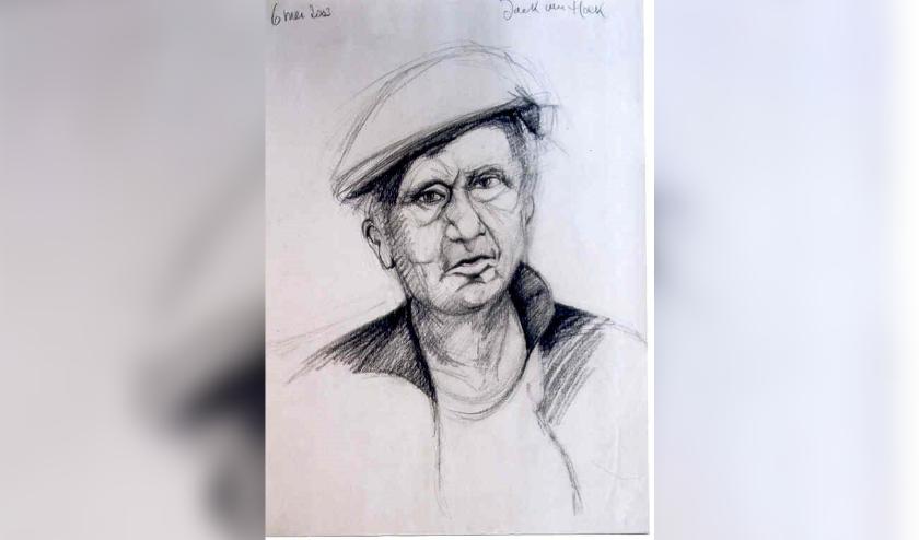 Jack van Hoek tekende in 2003 dit portret van Piet Smissaert. De Eindhovense kunstenaar stierf op 14 mei en is 90 jaar geworden.