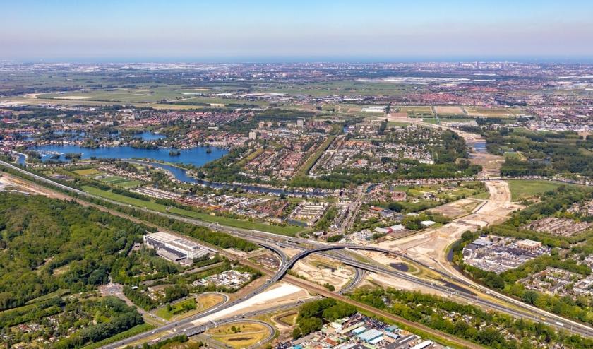 Een vergezicht met het hele project in beeld; vanaf het Terbregseplein richting de Rotte tot aan de aansluiting op de A13.