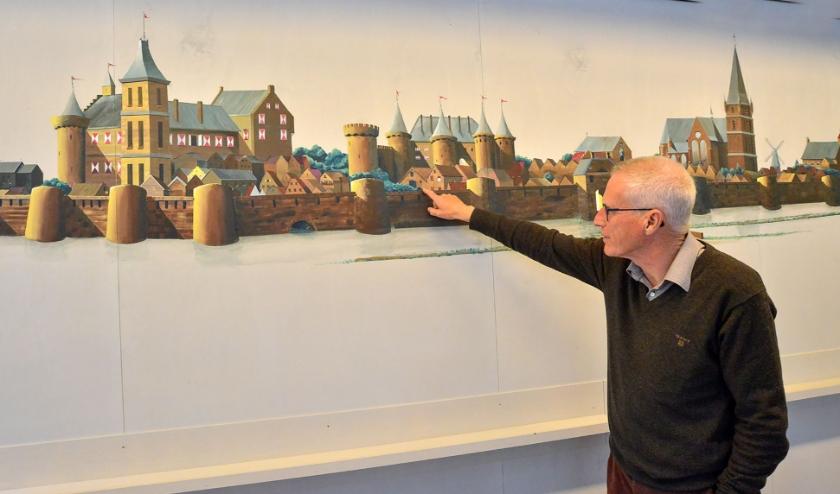 De muurschildering van Lex van Wijk als onderdeel van de tijdlijn in de expositieruimte in de Keizerstraat. (Foto: Paul van den Dungen)