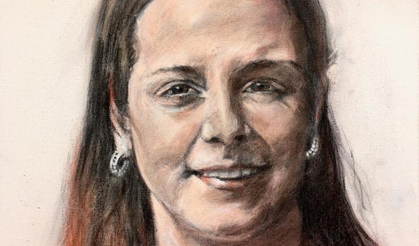 Portret Femke Verwoert, Verzorgende-IG Lingewaarde, door kunstenaar Bert Megens