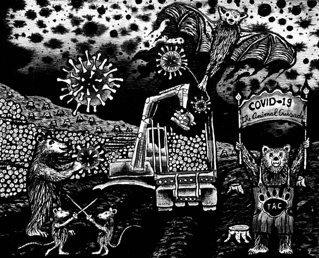 Ivo Kamphuis, The Animal Crusade , 2020, Oostindische inkt op papier Foto: PR © DPG Media