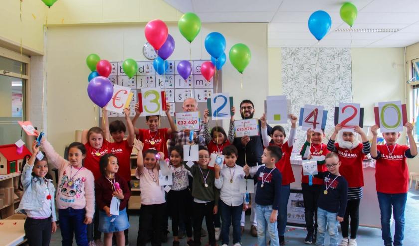 De kinderen van Al Amana vieren het succes van hun prachtige actie. (Foto Ilhame Arab)