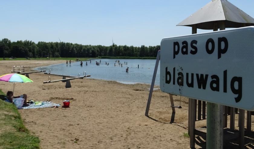 Langs de Krabbeplas wijzen deze bordjes op blauwalg. Elders staan informatieborden met het advies om op het droge te blijven.