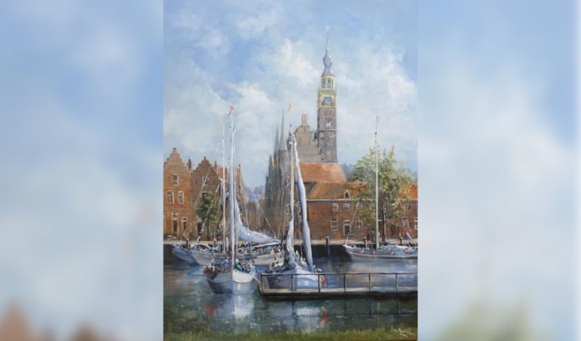 Een schilderij van de haven van Veere, door Peter van Berkel.