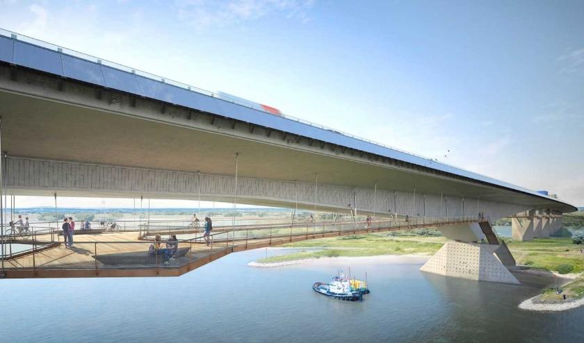 Ontwerp van het hangende fiets- en wandelpad onder de brug over het Pannerdensch Kanaal. (artist impression: © Ney & partnersArtist impression)