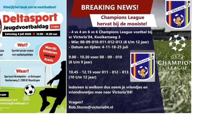 Met uitnodigende posters kondigen Deltasport en Victoria'04 de extra activiteiten voor jeugdvoetballers aan. (foto: PR)