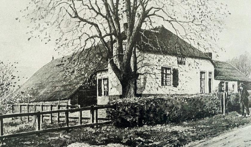 De boerderij van S. van Dam in Kijfhoek in betere tijden. Een aquarel van J. Verheuld dzn.