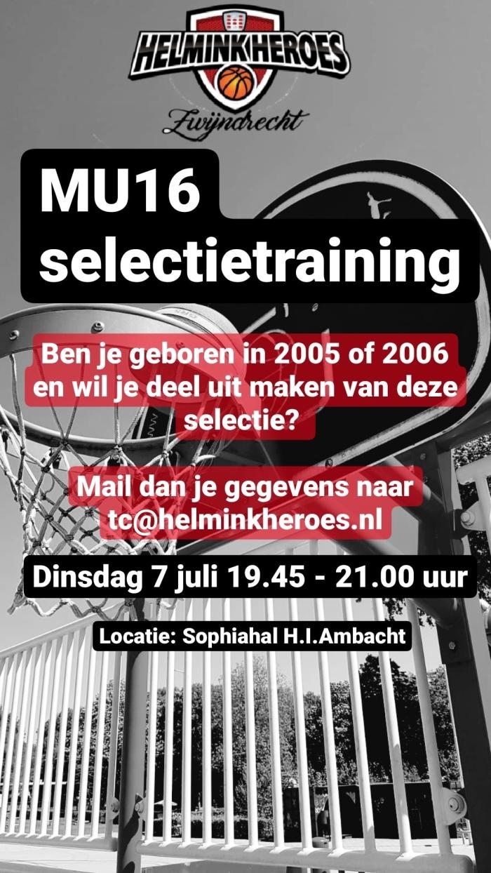 flyer MU16 selectietraining