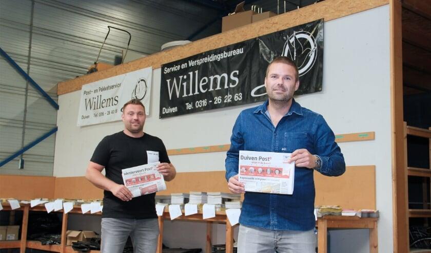 Dennis Goudriaan (rechts) van Service en Verspreidingsbureau Willems samen met collega Robert Simon.