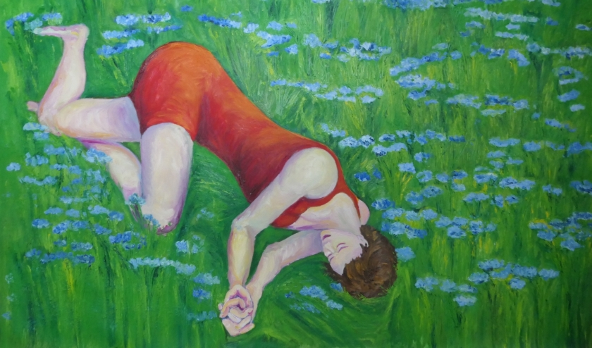 Olieverfschilderij van Magda Rysiak, 'Dromen in vlasveld'.