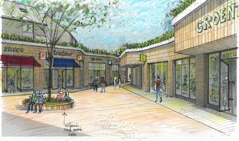 Nieuwe gevelbeeld van het Enkplein, waarbij winkeletalages prominent zichtbaar zijn.