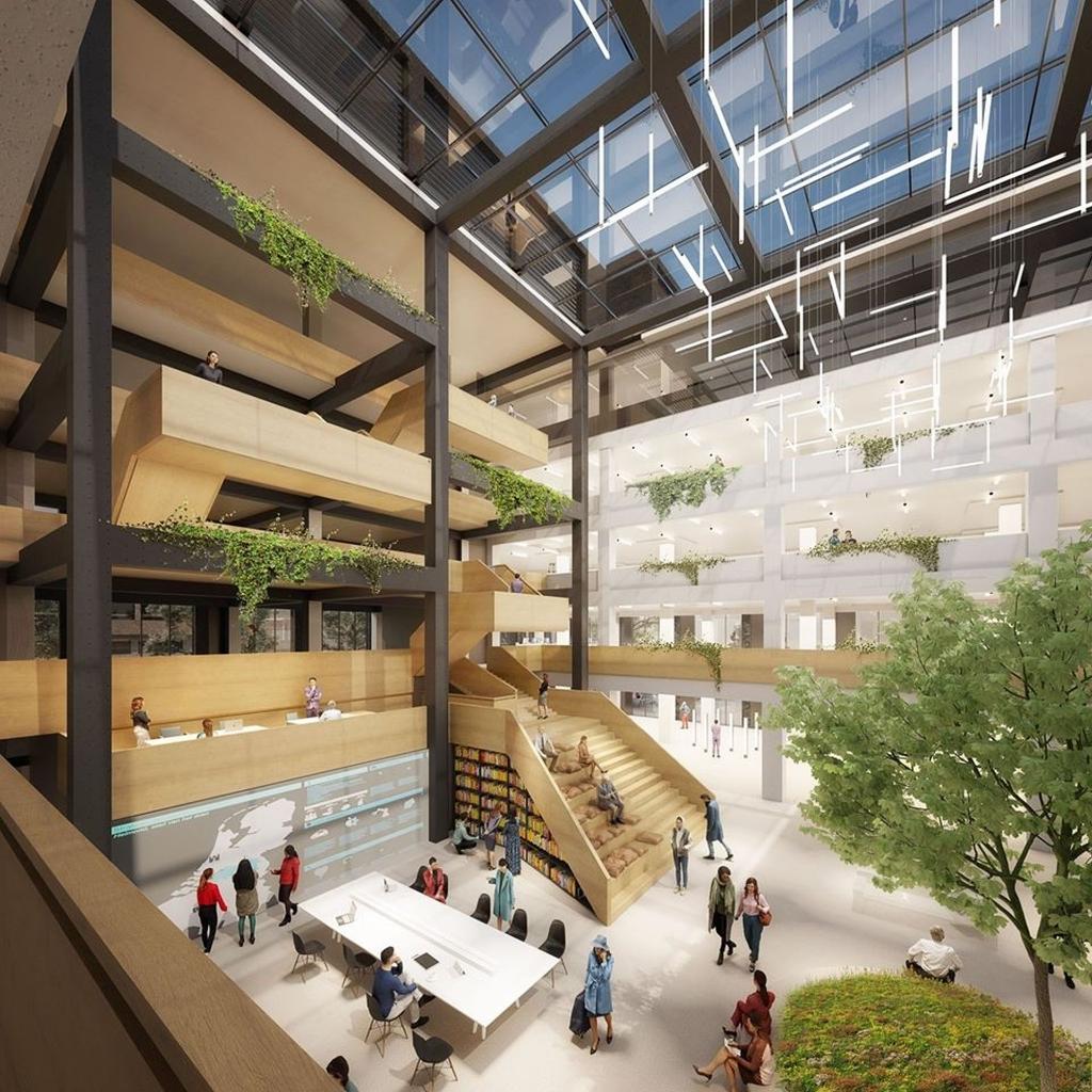 Een impressie van de binnenkant van het Huis voor de Stad. Foto: Kraaijvanger Architects.  Foto: Kraaijvanger Architects.  © DPG Media