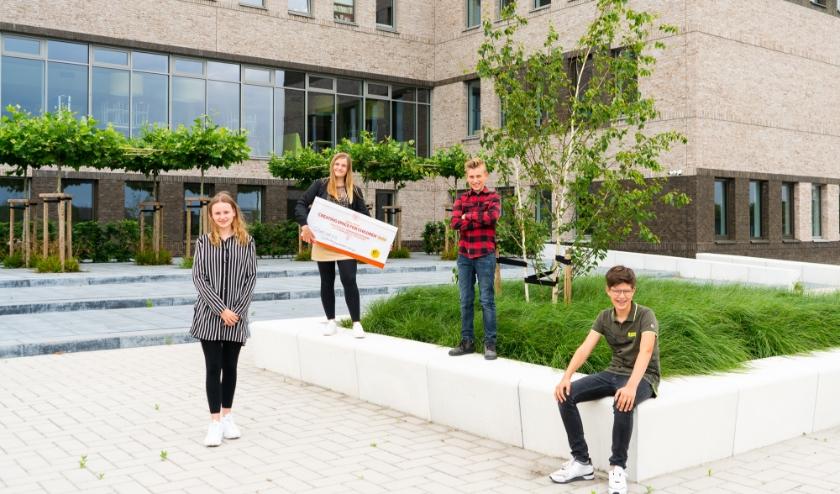Leerlingen Sandra, Jochem, Wilmer en Lisa van het Gomarus Scholengemeenschap uit Zaltbommel hebben finaleticket inmiddels in handen.