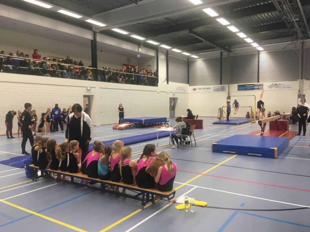 De turnsters van WHV Asperen staan te kijken naar de uitvoering van hun medeturnsters. Foto:  © DPG Media