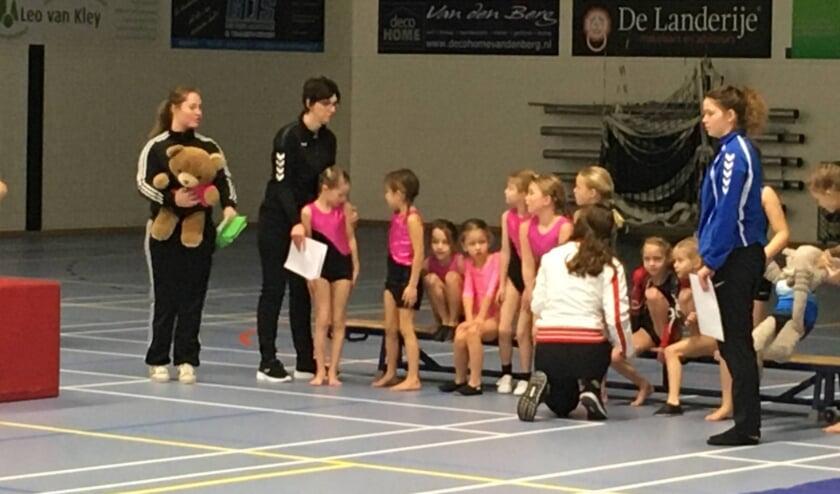 De turnsters van WHV Asperen met de begeleiding Juliane van Aalsburg en Annet van Laar.