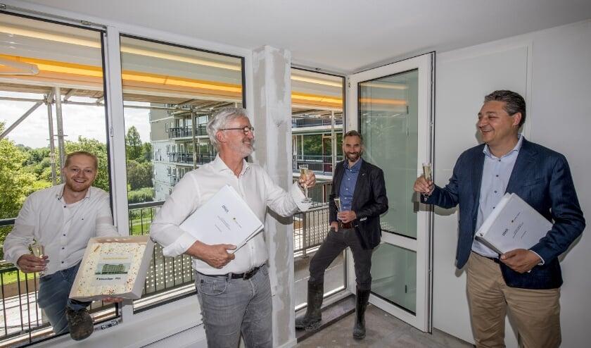 Van links naar rechts: Wim van Vreeswijk (De Vree en Sliepen), Johan Heesen (Thius, Peter van Essen (Thius), Ted van der Netten van Stigt (De Vree en Sliepen)