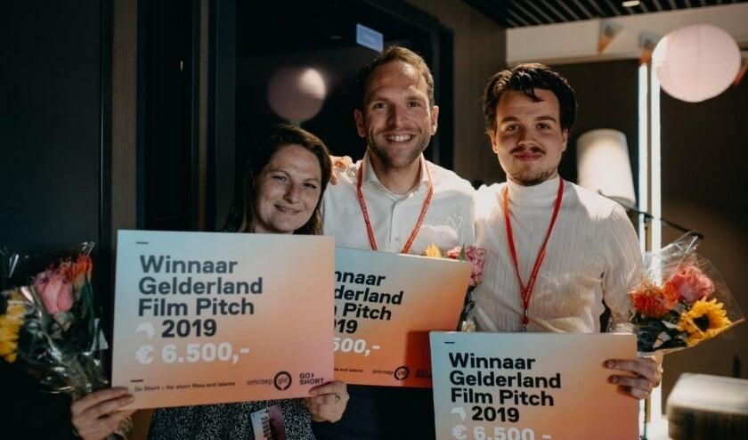 De winnaars van de eerste Gelderland Film Pitch. V.l.n.r.: Nena Tijsma, Coen Haver, Niels Veenendaal.