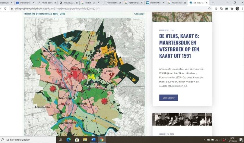 De 'groene kaart' die door het Onlinemuseum boven water is gehaald.