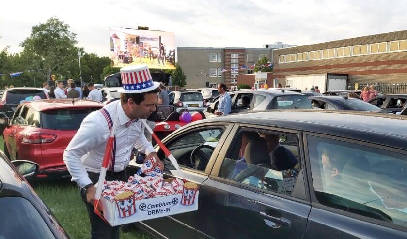 De drive-in was compleet dankzij de popcorn die iedereen kreeg aangeboden.