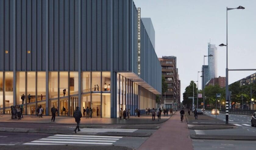 <p>De entree van sportcentrum Huis op Zuid krijgt een prominente plek op de hoek van Laan op Zuid en de Paul Kr&uuml;gerstraat, duidelijk herkenbaar vanuit de Afrikaanderwijk en Laan op Zuid.</p>