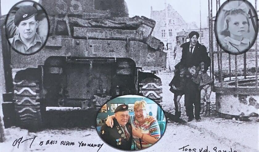 Deze aangepaste foto kreeg Toos Kocken - Van de Sande van de Britse veteraan Alan King. De twee hebben een bijzondere vriendschap gekregen nadat ze elkaar vijfendertig jaar geleden voor het eerst ontmoetten.