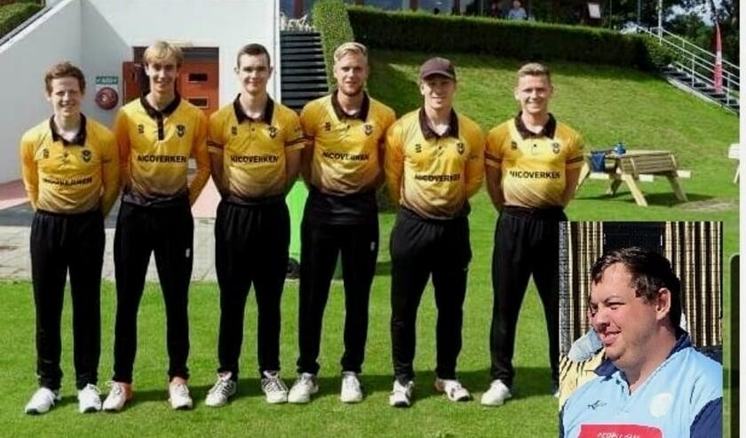 Luuk, Joost en Gijs Kroesen met tussen hen in de broers Jelte, Stan en Rens van Troost. (foto's Excelsior'20+gsv)