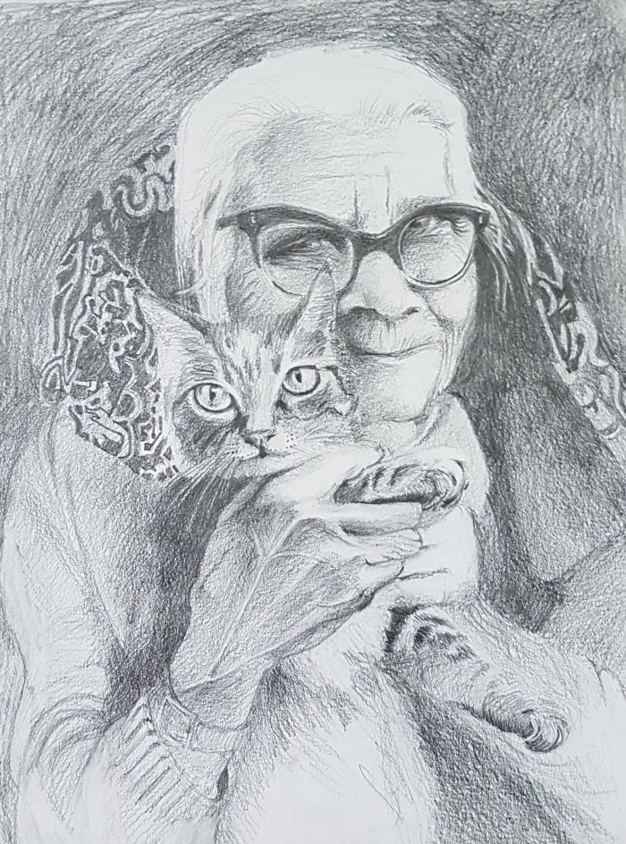 Oude vrouw met poes, grafiet, door Roeland Walsarie Wolff.